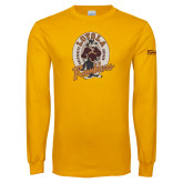 Gold Long Sleeve T Shirt-Ramblers Vintage - Full Mascot