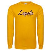 Gold Long Sleeve T Shirt-Script