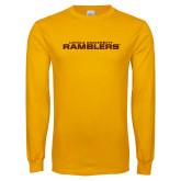 Gold Long Sleeve T Shirt-Loyola University Ramblers Stacked