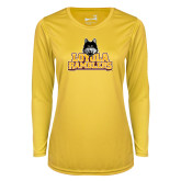Ladies Syntrel Performance Gold Longsleeve Shirt-Loyola Ramblers Stacked