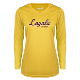 Ladies Syntrel Performance Gold Longsleeve Shirt-Script