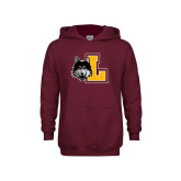 Youth Maroon Fleece Hoodie-L Mark