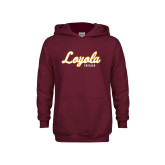 Youth Maroon Fleece Hoodie-Script