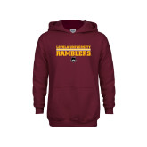 Youth Maroon Fleece Hoodie-Loyola University Ramblers - LInes