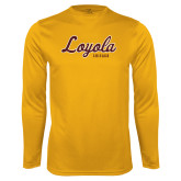 Performance Gold Longsleeve Shirt-Script