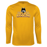 Performance Gold Longsleeve Shirt-Loyola Ramblers Stacked