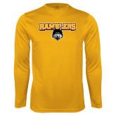 Performance Gold Longsleeve Shirt-Ramblers w/ Mascot