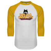 White/Gold Raglan Baseball T Shirt-Primary Mark