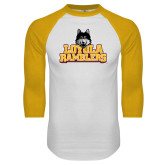 White/Gold Raglan Baseball T Shirt-Loyola Ramblers Stacked