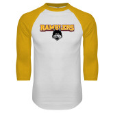 White/Gold Raglan Baseball T Shirt-Ramblers w/ Mascot
