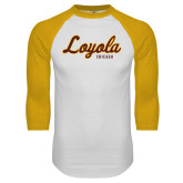 White/Gold Raglan Baseball T Shirt-Script