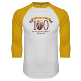 White/Gold Raglan Baseball T Shirt-Sister Jean 100th Birthday