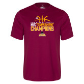 Performance Maroon Tee-2018 Mens Basketball Champions - Stacked