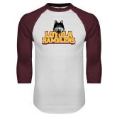 White/Maroon Raglan Baseball T Shirt-Loyola Ramblers Stacked