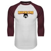 White/Maroon Raglan Baseball T Shirt-Ramblers w/ Mascot