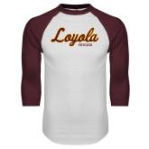 White/Maroon Raglan Baseball T Shirt-Script