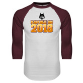 White/Maroon Raglan Baseball T Shirt-Ramble On