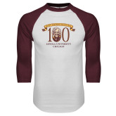White/Maroon Raglan Baseball T Shirt-Sister Jean 100th Birthday