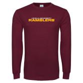 Maroon Long Sleeve T Shirt-Loyola University Ramblers Stacked