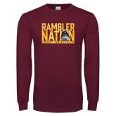 Maroon Long Sleeve T Shirt-Rambler Nation
