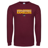 Maroon Long Sleeve T Shirt-Loyola University Ramblers - LInes