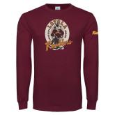 Maroon Long Sleeve T Shirt-Ramblers Vintage - Full Mascot