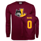 Maroon Long Sleeve T Shirt-L Mark, Custom Tee w/ Name and #