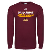 Maroon Long Sleeve T Shirt-2018 Mens Basketball Champions - Brush