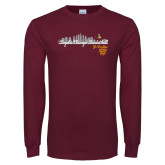 Maroon Long Sleeve T Shirt-City Scape