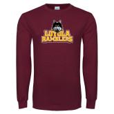 Maroon Long Sleeve T Shirt-Loyola Ramblers Stacked