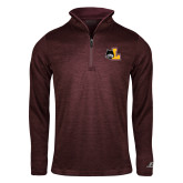 Russell Maroon Heather 1/4 Zip-L Mark