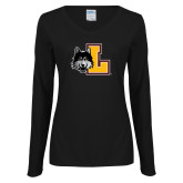 Ladies Black Long Sleeve V Neck Tee-L Mark