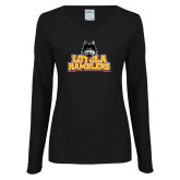 Ladies Black Long Sleeve V Neck Tee-Loyola Ramblers Stacked