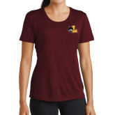 Ladies Performance Maroon Tee-L Mark