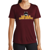 Ladies Performance Maroon Tee-Cross Country