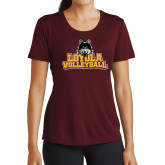 Ladies Performance Maroon Tee-Volleyball
