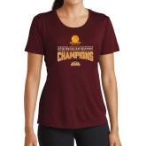 Ladies Performance Maroon Tee-2018 Regular Season Mens Basketball