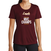 Ladies Performance Maroon Tee-2018 MVC Champs Mens Basketball
