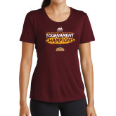 Ladies Performance Maroon Tee-2018 Mens Basketball Champions - Brush