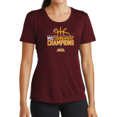 Ladies Performance Maroon Tee-2018 Mens Basketball Champions - Stacked