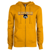 ENZA Ladies Gold Fleece Full Zip Hoodie-Ramblers w/ Mascot