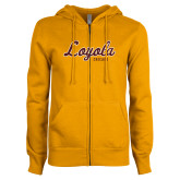 ENZA Ladies Gold Fleece Full Zip Hoodie-Script