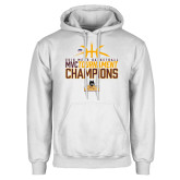 White Fleece Hoodie-2018 Mens Basketball Champions - Stacked