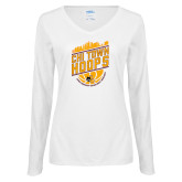 Ladies White Long Sleeve V Neck Tee-Chi Town Hoops