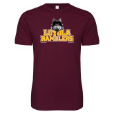 Next Level SoftStyle Maroon T Shirt-Loyola Ramblers Stacked
