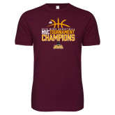 Next Level SoftStyle Maroon T Shirt-2018 Mens Basketball Champions - Stacked