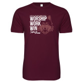 Next Level SoftStyle Maroon T Shirt-Worship Work Win