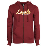ENZA Ladies Maroon Fleece Full Zip Hoodie-Script