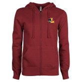 ENZA Ladies Maroon Fleece Full Zip Hoodie-L Mark
