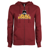 ENZA Ladies Maroon Fleece Full Zip Hoodie-Loyola Ramblers Stacked